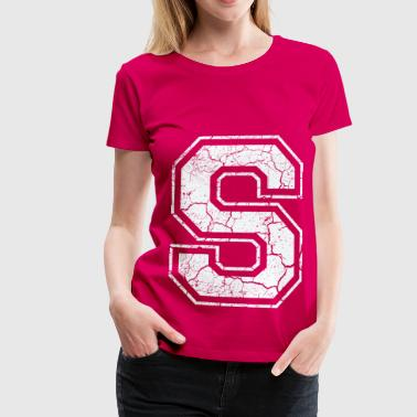 Letter S in white in the used look - Women's Premium T-Shirt