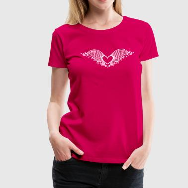 Princess Angel Filigree heart with wings. Winged heart. - Women's Premium T-Shirt
