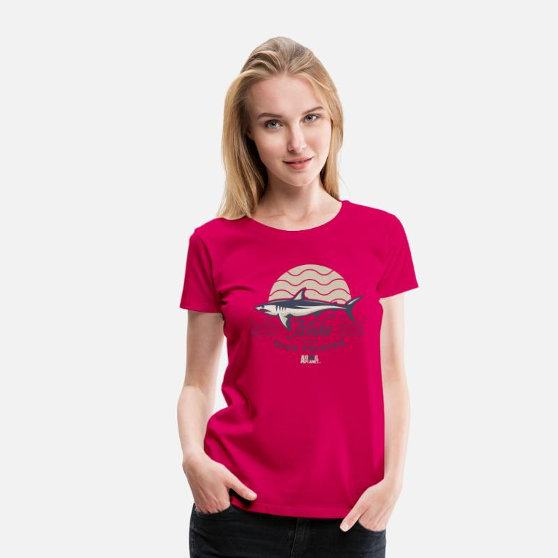Officialbrands T-Shirts - Animal Planet Mako Shark Blue Pointer Vintage - Women's Premium T-Shirt dark pink