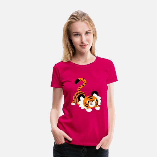 Pounce T-Shirts - Cute Cartoon Tiger Ready To Pounce!! by Cheerful Madness!! - Women's Premium T-Shirt dark pink