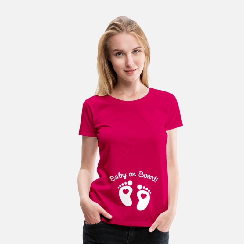 Grossesse T-shirts - baby on board - T-shirt premium Femme rubis