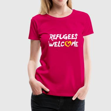 Refugees welcome + heart - Dame premium T-shirt