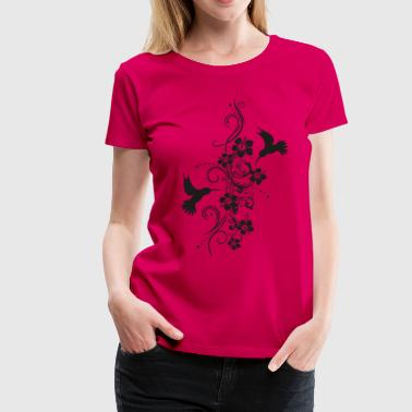 Hummingbirds med hibiskus och filigran tendril - Premium-T-shirt dam