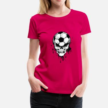 soccer skull kicker ball football pirat - Premium T-skjorte for kvinner