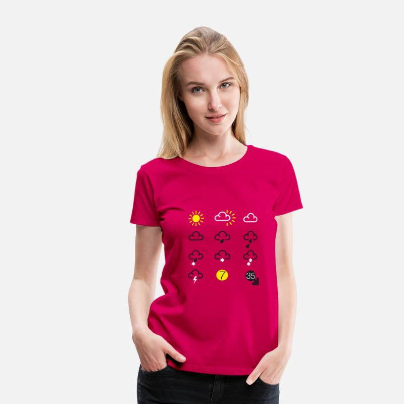 Weather T-Shirts - weather forecast symbols - Women's Premium T-Shirt dark pink