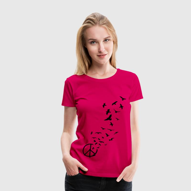 peace symbol flying birds - Women's Premium T-Shirt