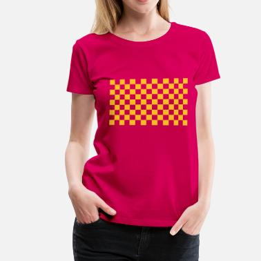 Black And White pattern chequered black white - Women's Premium T-Shirt