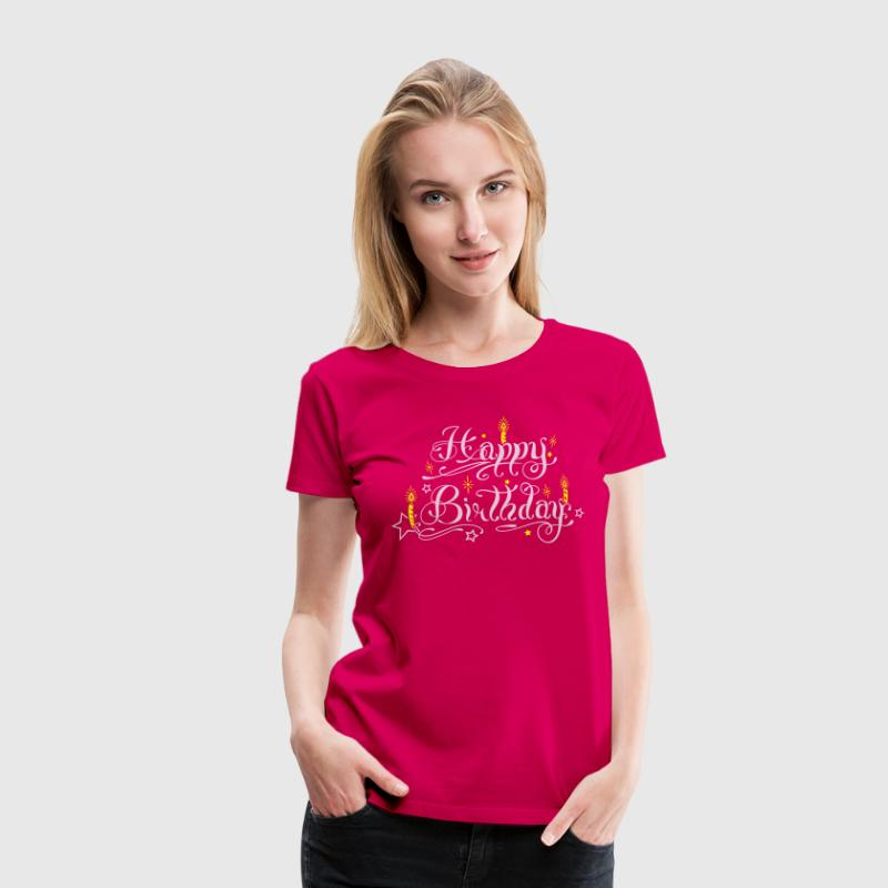 Happy birthday lettering with candles. - Women's Premium T-Shirt