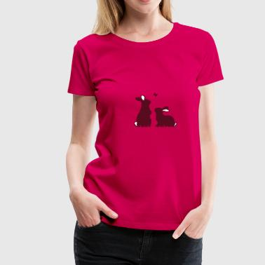 Bunny Ears Two rabbits watching a butterfly - Women's Premium T-Shirt