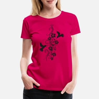 Filigran Hummingbirds med hibiskus och filigran tendril - Premium T-shirt dam