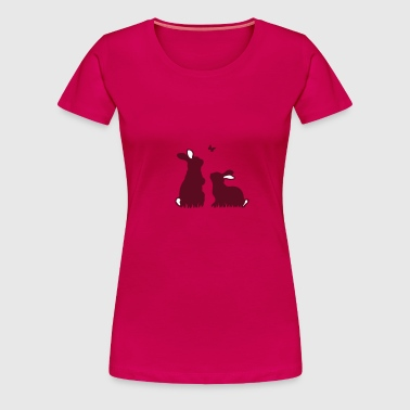 Two rabbits watching a butterfly - Women's Premium T-Shirt
