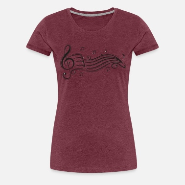 Notes Clef with sheet music and music notes. - Women's Premium T-Shirt