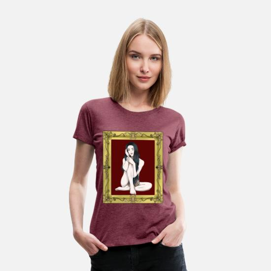 Image T-Shirts - Naked woman in a picture erotic - Women's Premium T-Shirt heather burgundy