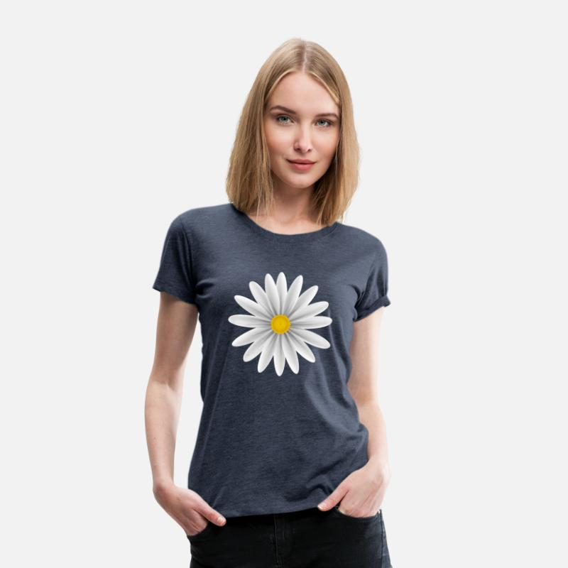 Daisy T-Shirts - White Daisy Top Down - Women's Premium T-Shirt heather blue