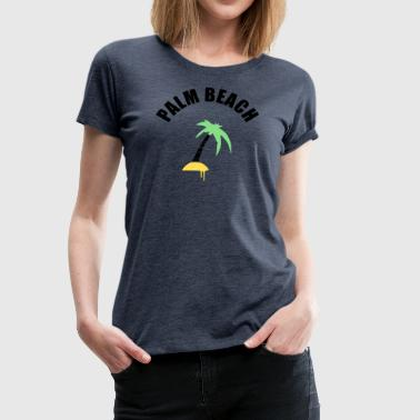 Sunbathing Small island with palm tree and lettering Palm Beach - Women's Premium T-Shirt