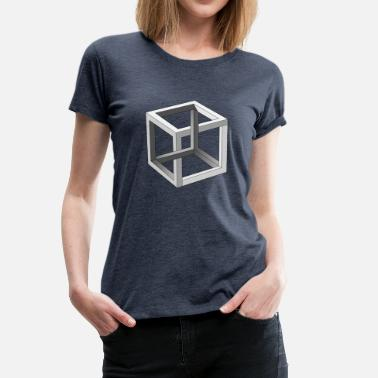 Gåtfull Cube optisk illusion - Premium-T-shirt dam