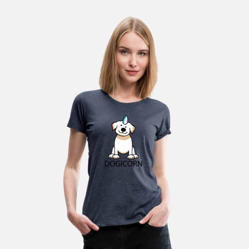 Funny T-Shirts - Dogicorn - Women's Premium T-Shirt heather blue
