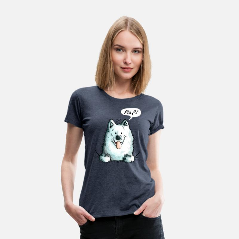 Animal T-Shirts - Samoyed Play - Samoyeds - Sabaka - Sobaka        - Women's Premium T-Shirt heather blue