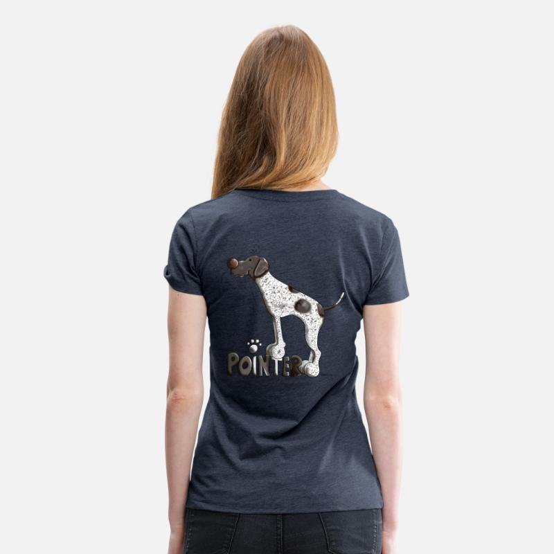 Pointer T-Shirts - Cute German Shorthaired Pointer - Women's Premium T-Shirt heather blue