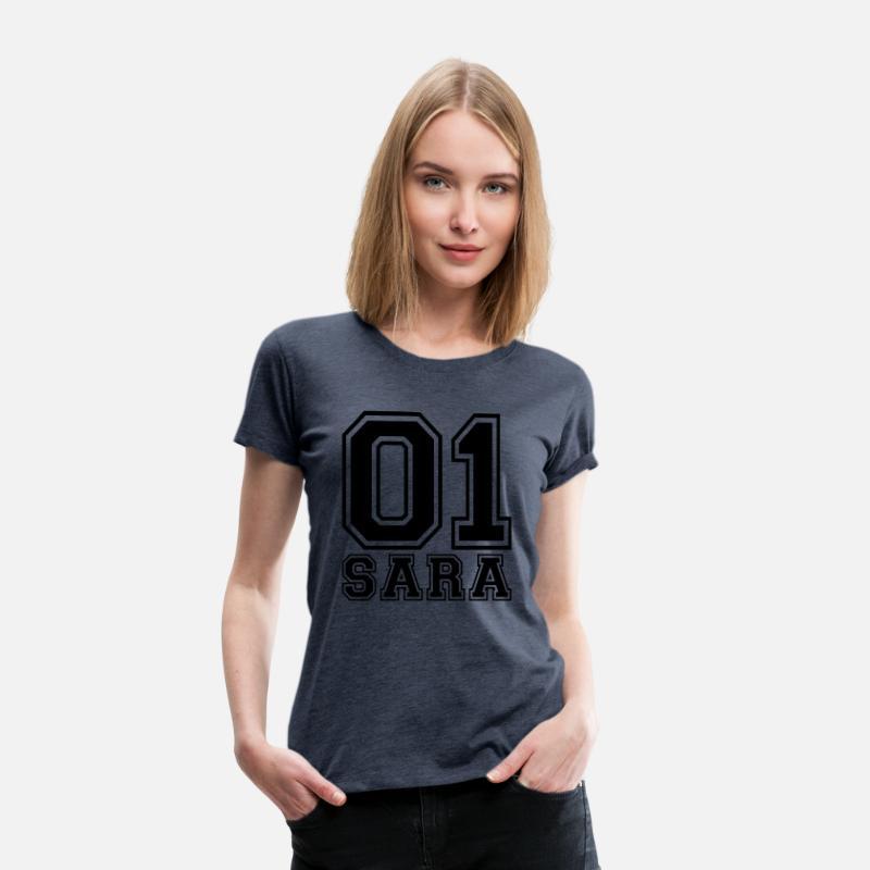 Sara Camisetas - Sara - Nombre - Camiseta premium mujer azul jaspeado 4dad95c02d7