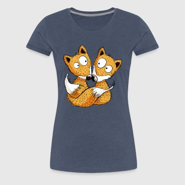 Fox In Love - Foxes - Couple - Gift - Women's Premium T-Shirt