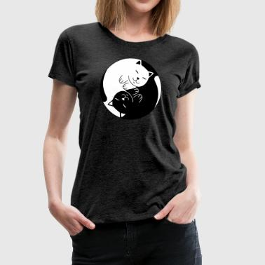 Cat Ying Yang | Cute Illustration - Women's Premium T-Shirt