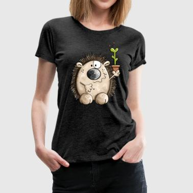 Hedgehog with cactus - Women's Premium T-Shirt