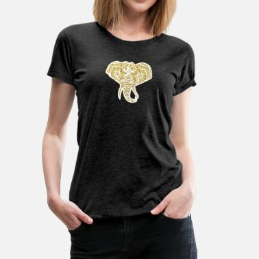 Mehndi Designs Henna Elephant Head Mehndi gold and white - Women's Premium T-Shirt