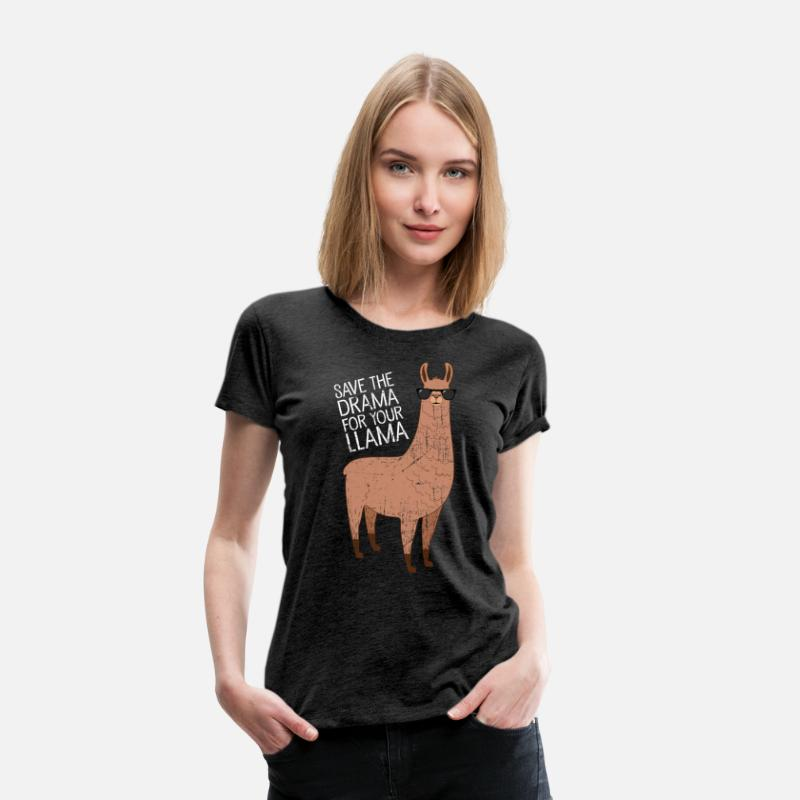 Cool T-Shirts - Save The Drama For Your Llama - Women's Premium T-Shirt charcoal grey