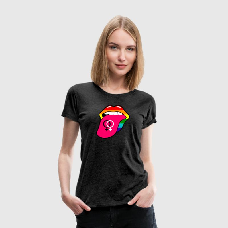 Gay pride rainbow tongue with lesbian symbol - Women's Premium T-Shirt
