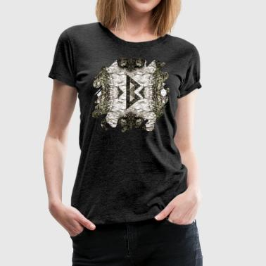 Berkana Celtic Rune on Birch Bark - Women's Premium T-Shirt
