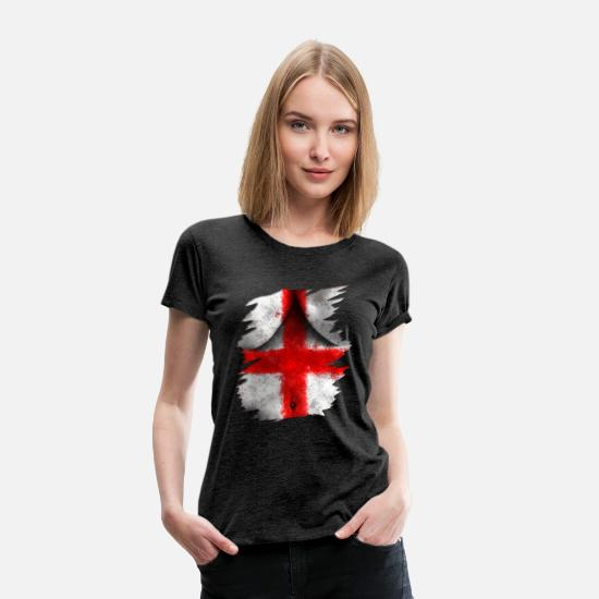 England T-Shirts - England flag banner Torn Bodypaint - Women's Premium T-Shirt charcoal grey
