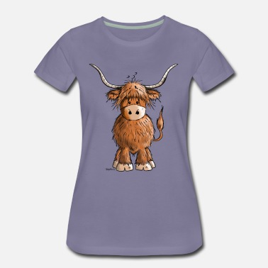Funny Cow Scottish Highland Cattle - Women's Premium T-Shirt
