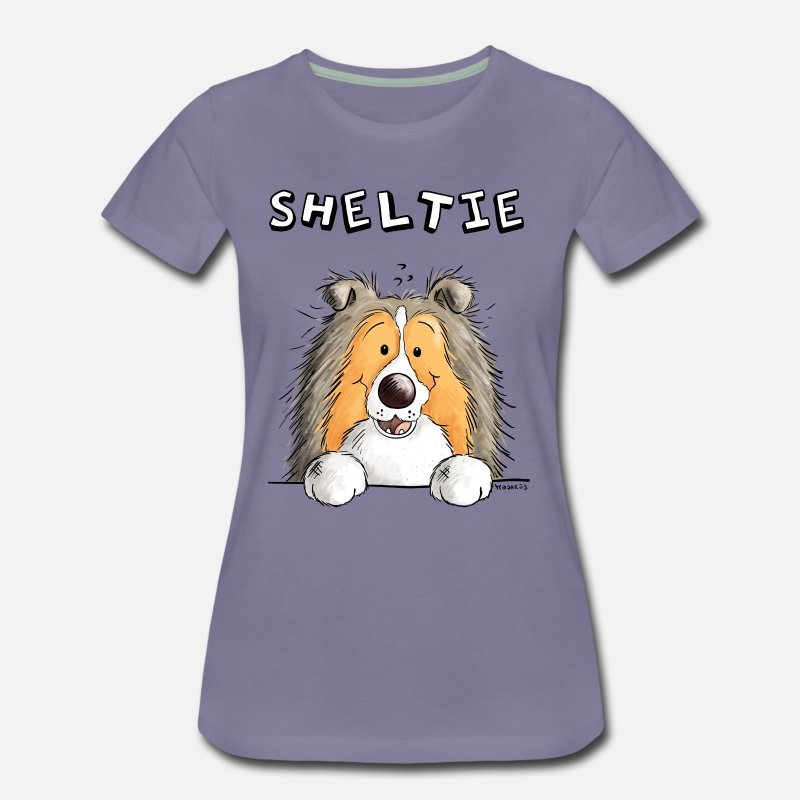 Dog T-Shirts - Funny Sheltie Dog - Dogs - Comic - Women's Premium T-Shirt washed violet