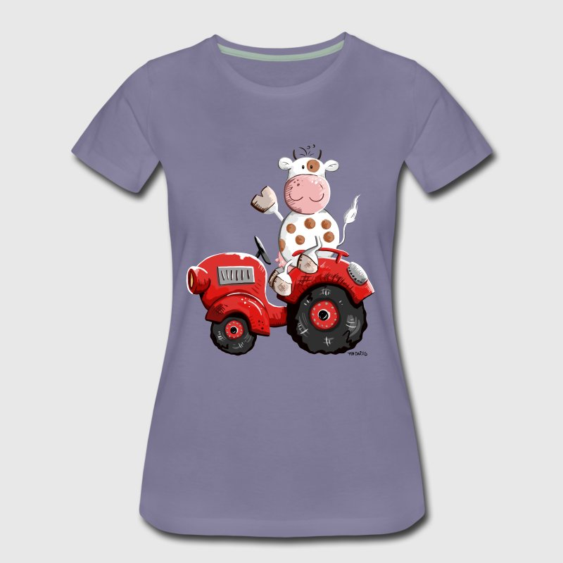 Cow drives a tractor - Women's Premium T-Shirt