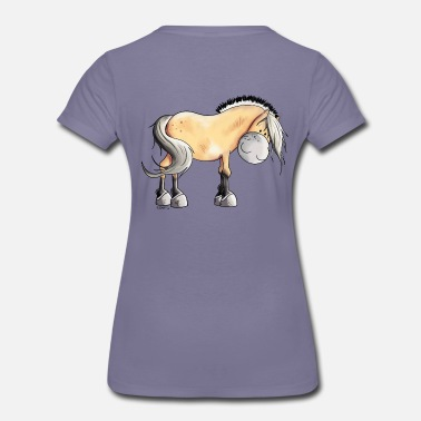 Fjord Horse Cartoon Happy Fjord Horse - Women's Premium T-Shirt