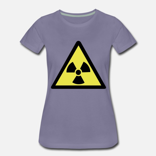 Warning T-Shirts - Radioactive Warning Symbol - Women's Premium T-Shirt washed violet