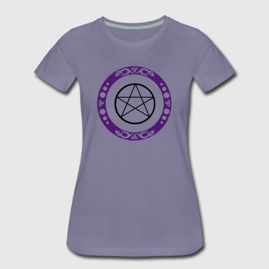 Big pentagram with trinity symbol. Pagan Art. - Women's Premium T-Shirt
