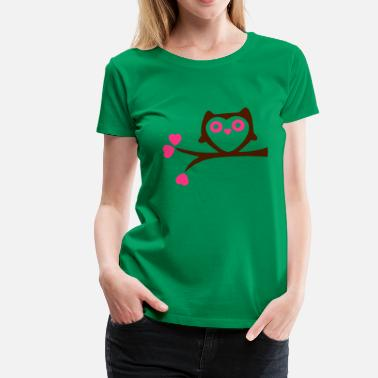 Love With Heart Owl with Hearts - Premium T-shirt dam
