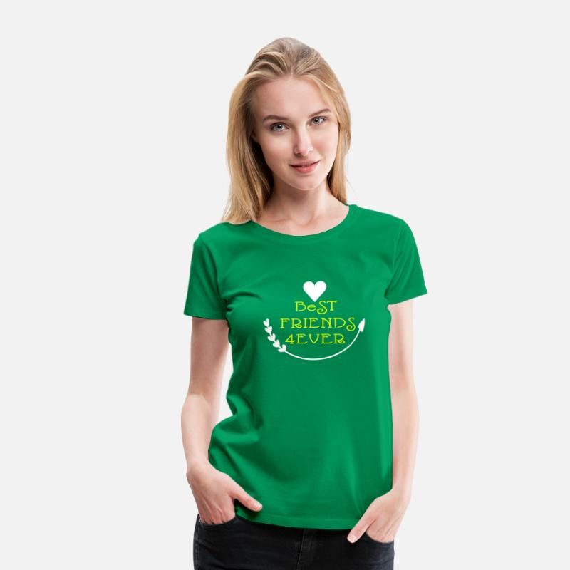 Friends Forever T-Shirts - BEST FRIENDS FOREVER  typography with arrow hearts - Women's Premium T-Shirt kelly green