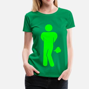 Pooping Asian Funny Farting Restrooms / Toilet Sign - Women's Premium T-Shirt