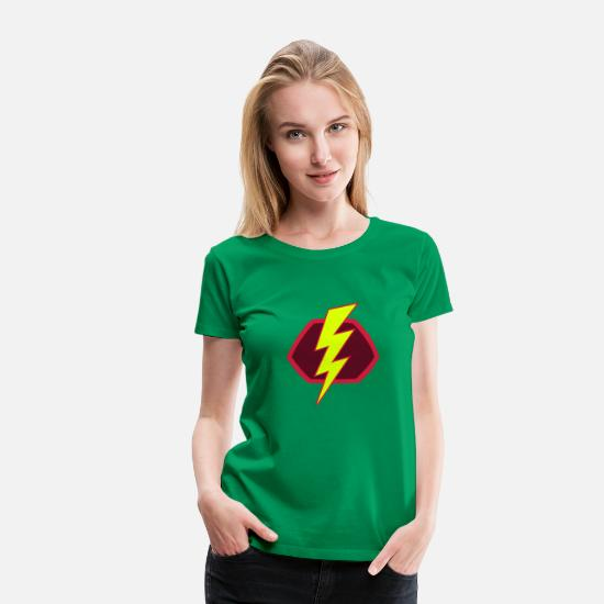Superhelden T-Shirts - Superhelden Superhero Flash Blitz Symbol - Frauen Premium T-Shirt Kelly Green