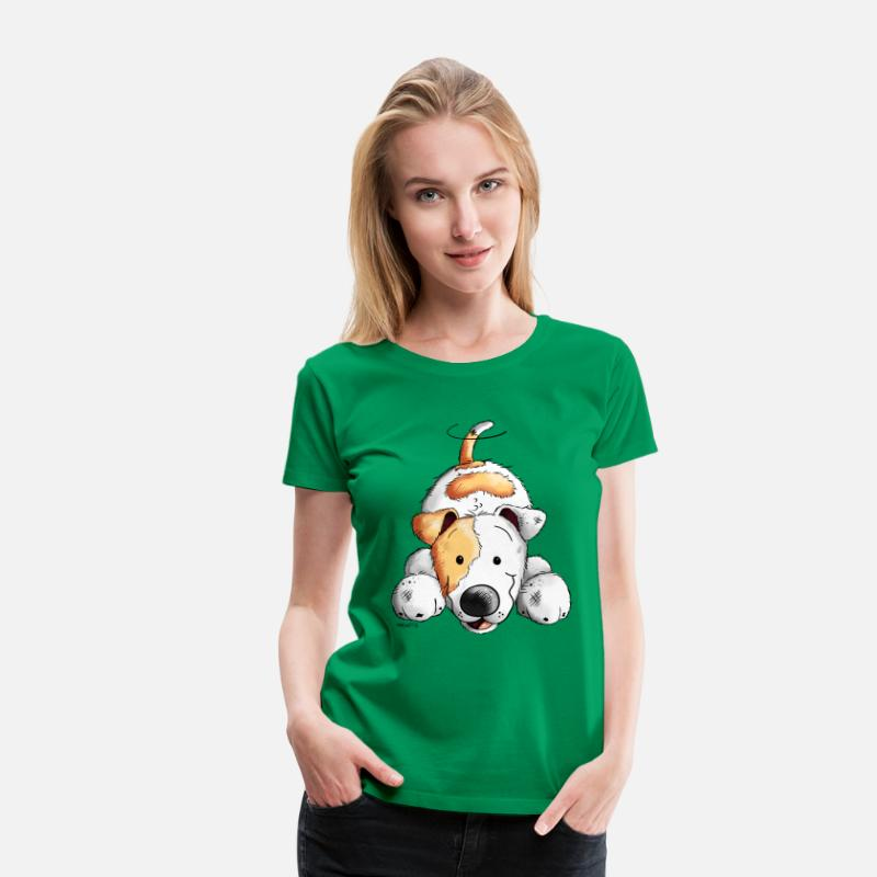 Jack T-Shirts - Sweet Jack Russell - Women's Premium T-Shirt kelly green