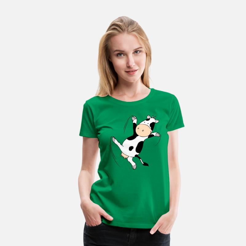 Cow T-Shirts - Mooviestars - Dancing Cow - Women's Premium T-Shirt kelly green