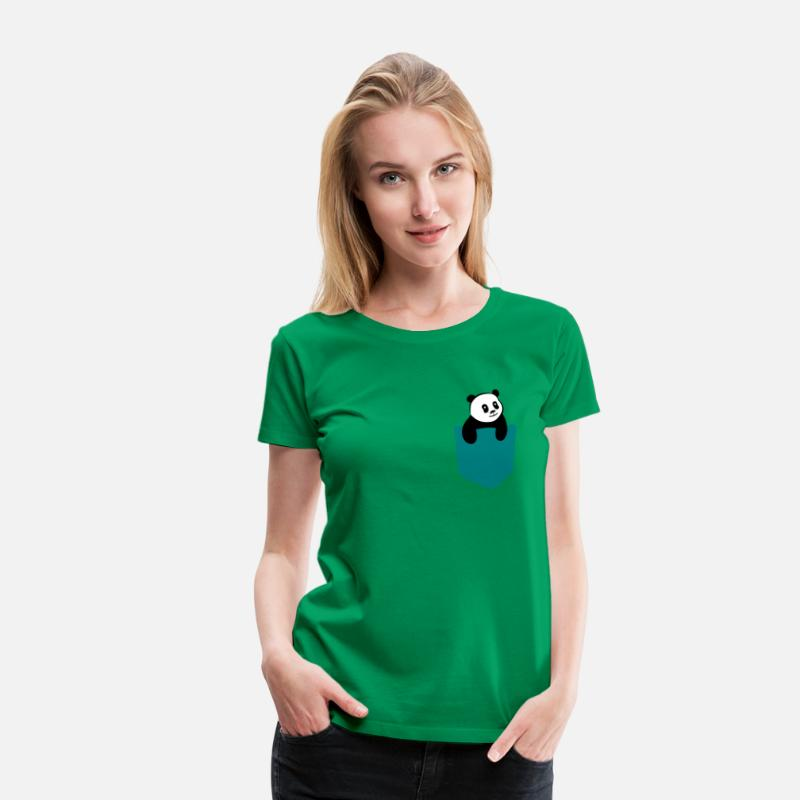 Cute T-Shirts - Cute Panda Pocket - Vrouwen premium T-shirt kelly groen