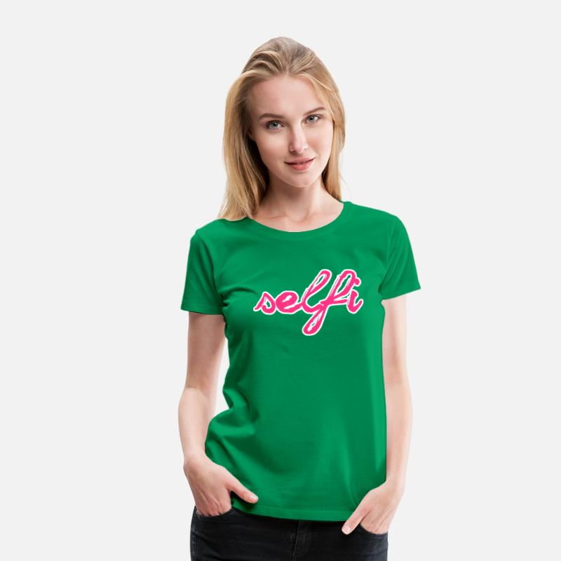 Fun T-Shirts - Selfi - Women's Premium T-Shirt kelly green