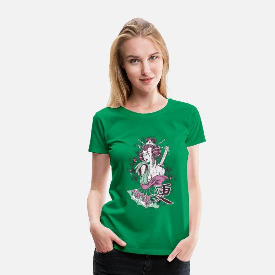 Ancient T-Shirts - Japanese Geisha - Women's Premium T-Shirt kelly green
