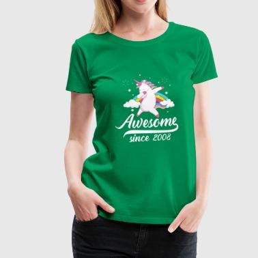Awesome since 2008 - dabbing unicorn - T-shirt Premium Femme