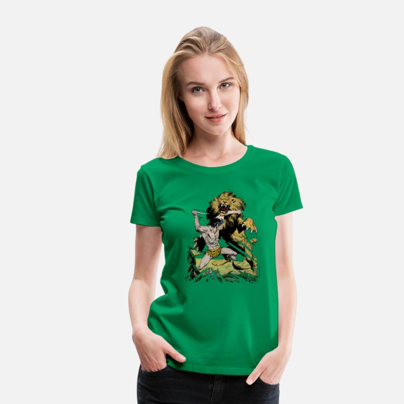 Officialbrands T-Shirts - Tarzan and a wild lion - Women's Premium T-Shirt kelly green
