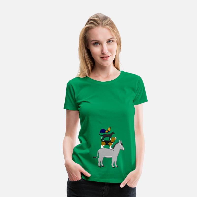 Cat T-Shirts - Dog, cat, cock, donkey - Women's Premium T-Shirt kelly green